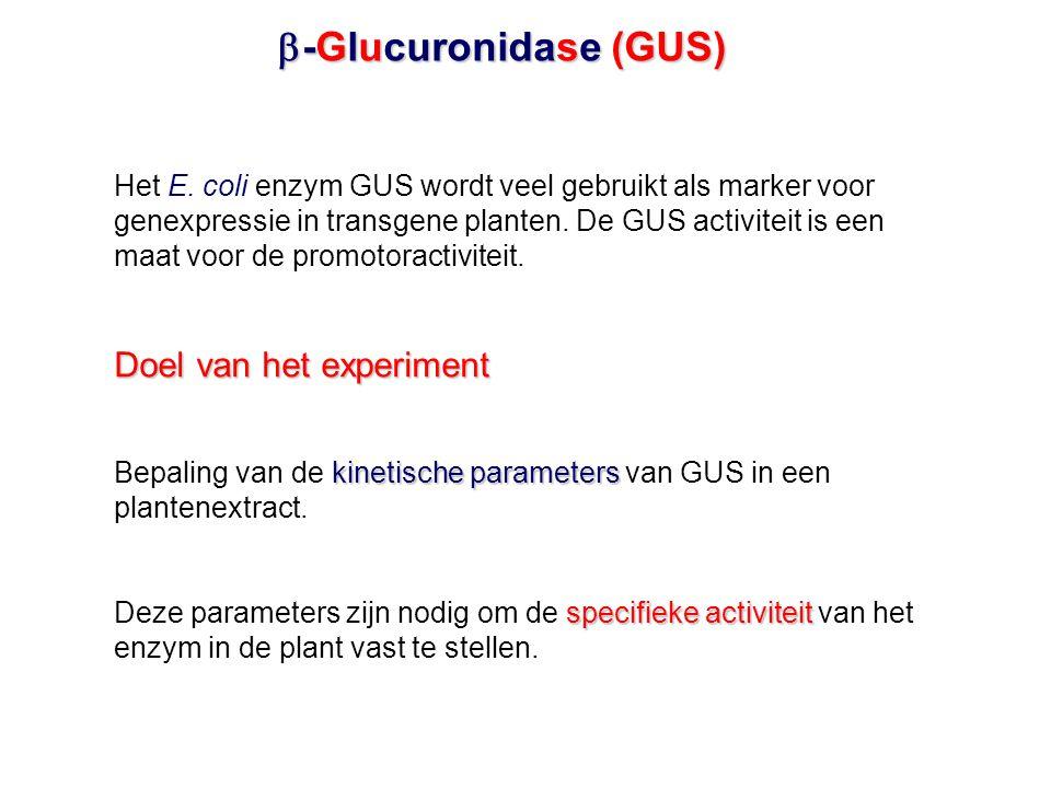  -Glucuronidase (GUS) Het E. coli enzym GUS wordt veel gebruikt als marker voor genexpressie in transgene planten. De GUS activiteit is een maat voor