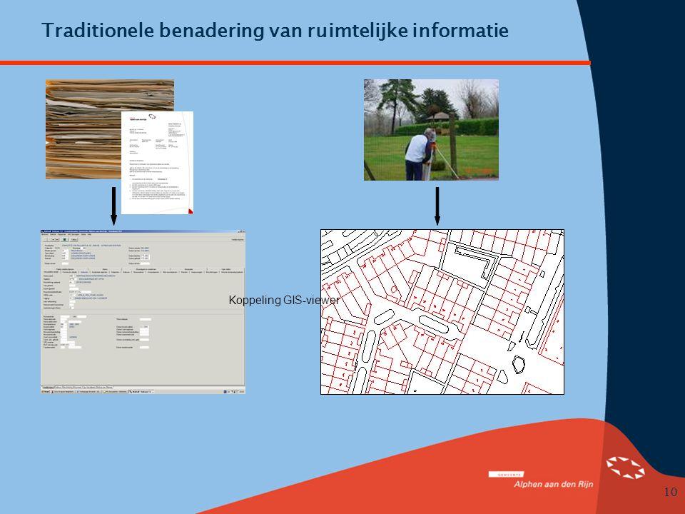 10 Traditionele benadering van ruimtelijke informatie Koppeling GIS-viewer