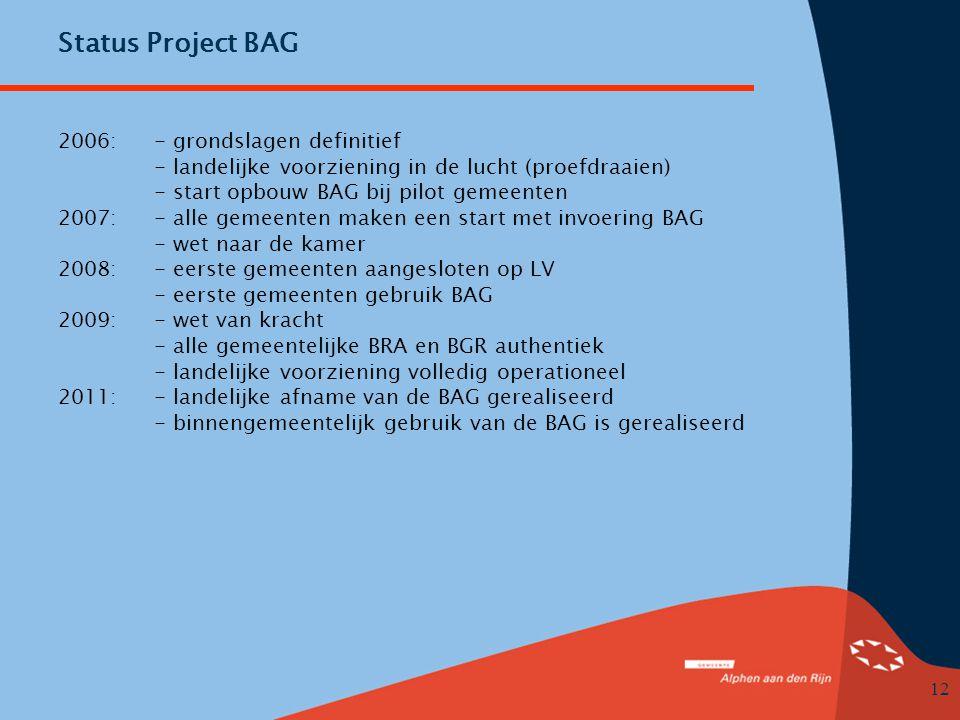 12 Status Project BAG 2006: - grondslagen definitief - landelijke voorziening in de lucht (proefdraaien) - start opbouw BAG bij pilot gemeenten 2007: - alle gemeenten maken een start met invoering BAG - wet naar de kamer 2008: - eerste gemeenten aangesloten op LV - eerste gemeenten gebruik BAG 2009: - wet van kracht - alle gemeentelijke BRA en BGR authentiek - landelijke voorziening volledig operationeel 2011: - landelijke afname van de BAG gerealiseerd - binnengemeentelijk gebruik van de BAG is gerealiseerd