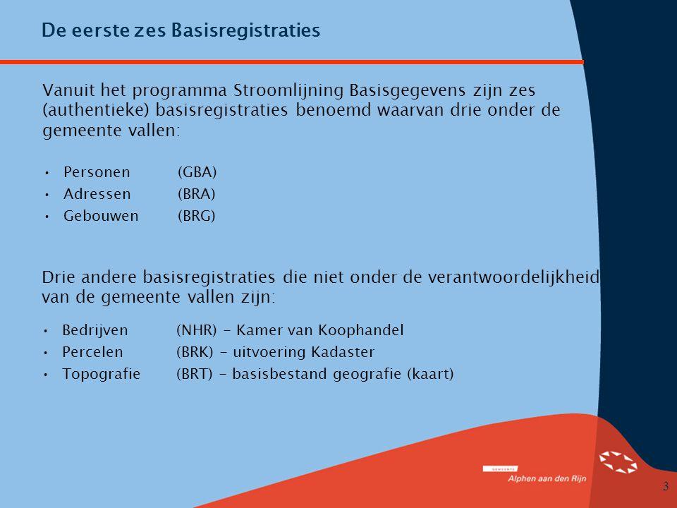 3 De eerste zes Basisregistraties Vanuit het programma Stroomlijning Basisgegevens zijn zes (authentieke) basisregistraties benoemd waarvan drie onder de gemeente vallen: •Personen(GBA) •Adressen(BRA) •Gebouwen(BRG) Drie andere basisregistraties die niet onder de verantwoordelijkheid van de gemeente vallen zijn: •Bedrijven(NHR) - Kamer van Koophandel •Percelen(BRK) - uitvoering Kadaster •Topografie(BRT) - basisbestand geografie (kaart)