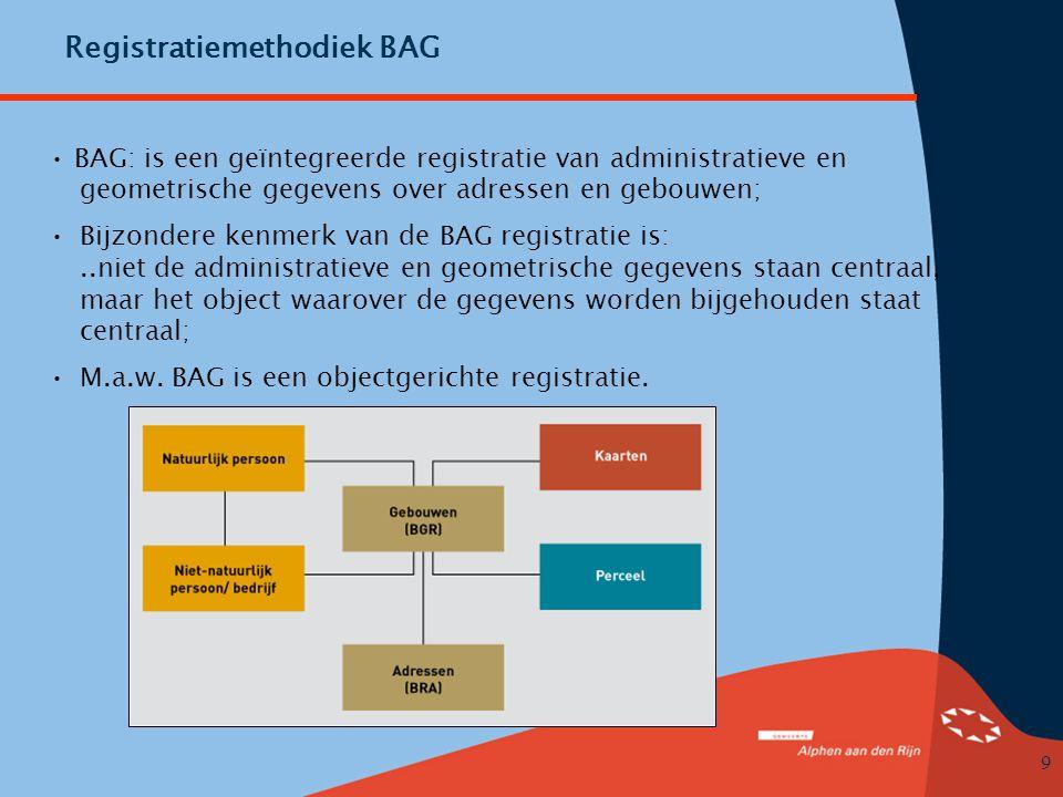 9 Registratiemethodiek BAG • BAG: is een geïntegreerde registratie van administratieve en geometrische gegevens over adressen en gebouwen; •Bijzondere kenmerk van de BAG registratie is:..niet de administratieve en geometrische gegevens staan centraal, maar het object waarover de gegevens worden bijgehouden staat centraal; •M.a.w.