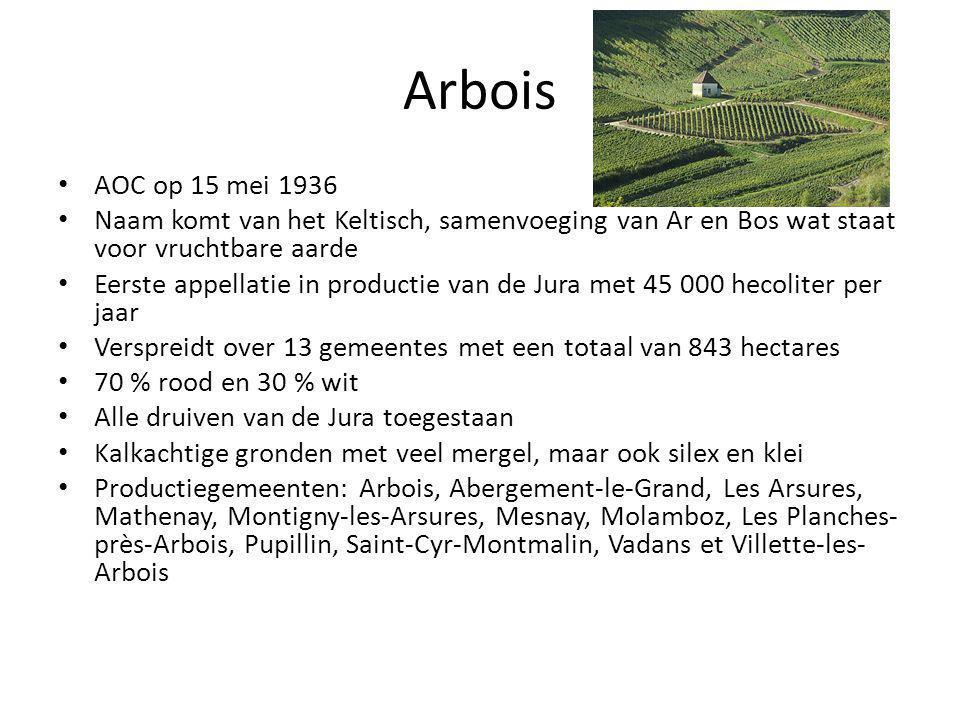 Arbois • AOC op 15 mei 1936 • Naam komt van het Keltisch, samenvoeging van Ar en Bos wat staat voor vruchtbare aarde • Eerste appellatie in productie van de Jura met 45 000 hecoliter per jaar • Verspreidt over 13 gemeentes met een totaal van 843 hectares • 70 % rood en 30 % wit • Alle druiven van de Jura toegestaan • Kalkachtige gronden met veel mergel, maar ook silex en klei • Productiegemeenten: Arbois, Abergement-le-Grand, Les Arsures, Mathenay, Montigny-les-Arsures, Mesnay, Molamboz, Les Planches- près-Arbois, Pupillin, Saint-Cyr-Montmalin, Vadans et Villette-les- Arbois