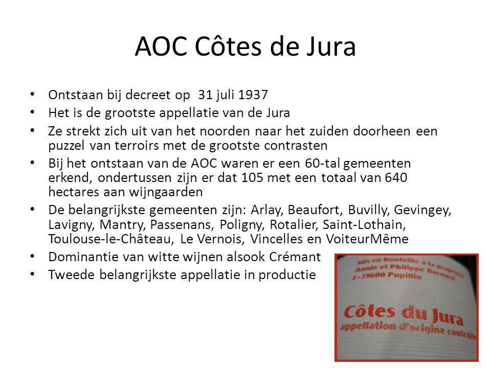 AOC Côtes de Jura • Ontstaan bij decreet op 31 juli 1937 • Het is de grootste appellatie van de Jura • Ze strekt zich uit van het noorden naar het zuiden doorheen een puzzel van terroirs met de grootste contrasten • Bij het ontstaan van de AOC waren er een 60-tal gemeenten erkend, ondertussen zijn er dat 105 met een totaal van 640 hectares aan wijngaarden • De belangrijkste gemeenten zijn: Arlay, Beaufort, Buvilly, Gevingey, Lavigny, Mantry, Passenans, Poligny, Rotalier, Saint-Lothain, Toulouse-le-Château, Le Vernois, Vincelles en VoiteurMême • Dominantie van witte wijnen alsook Crémant • Tweede belangrijkste appellatie in productie