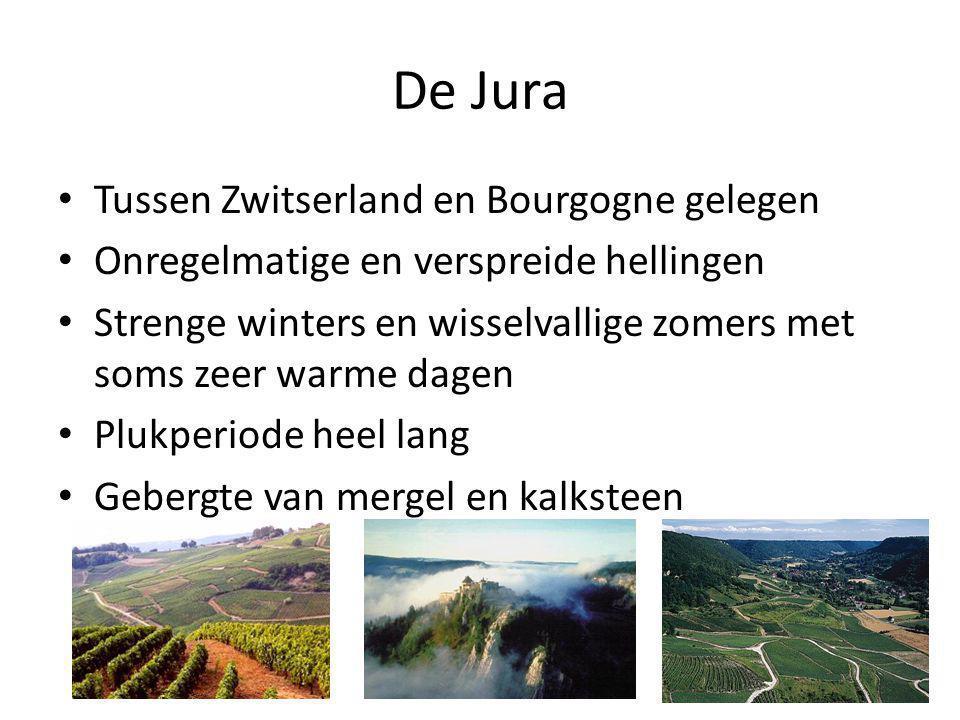 De Jura • Tussen Zwitserland en Bourgogne gelegen • Onregelmatige en verspreide hellingen • Strenge winters en wisselvallige zomers met soms zeer warme dagen • Plukperiode heel lang • Gebergte van mergel en kalksteen