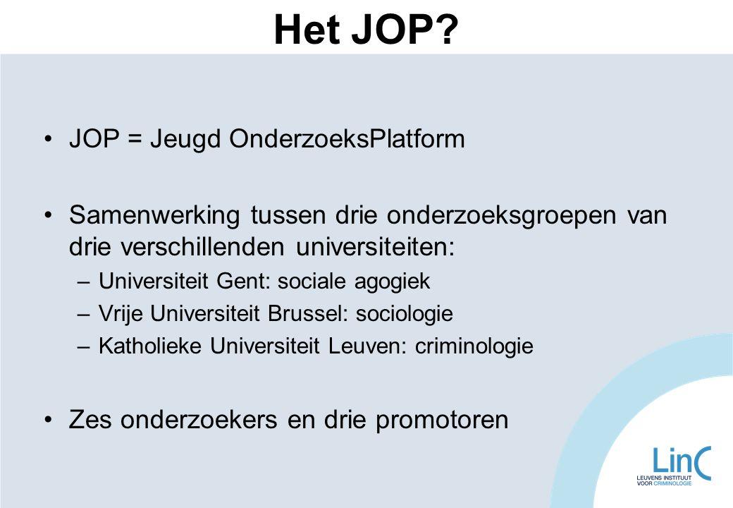 •JOP = Jeugd OnderzoeksPlatform •Samenwerking tussen drie onderzoeksgroepen van drie verschillenden universiteiten: –Universiteit Gent: sociale agogie