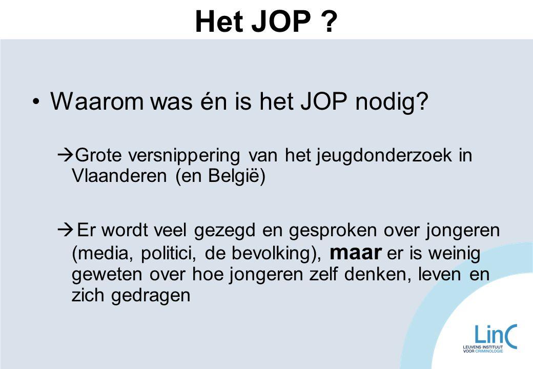 •Waarom was én is het JOP nodig?  Grote versnippering van het jeugdonderzoek in Vlaanderen (en België)  Er wordt veel gezegd en gesproken over jonge
