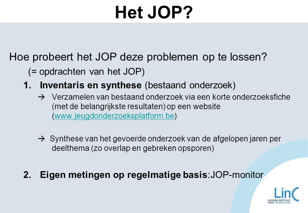 Hoe probeert het JOP deze problemen op te lossen? (= opdrachten van het JOP) 1.Inventaris en synthese (bestaand onderzoek)  Verzamelen van bestaand o
