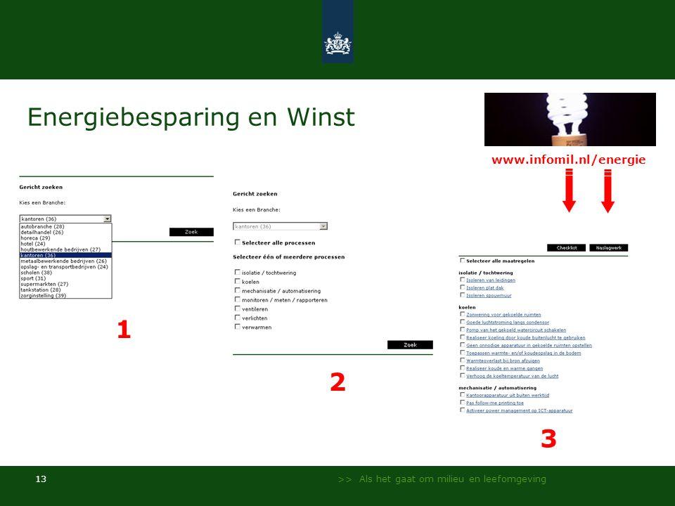 >> Als het gaat om milieu en leefomgeving 13 Energiebesparing en Winst 1 2 3 www.infomil.nl/energie