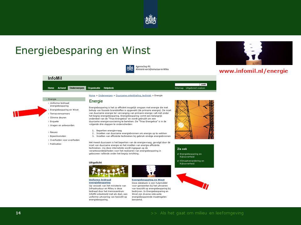 >> Als het gaat om milieu en leefomgeving 14 Energiebesparing en Winst www.infomil.nl/energie
