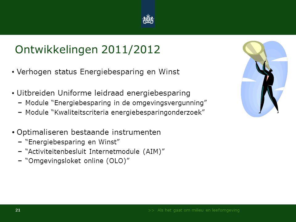 >> Als het gaat om milieu en leefomgeving 21 Ontwikkelingen 2011/2012 • Verhogen status Energiebesparing en Winst • Uitbreiden Uniforme leidraad energ