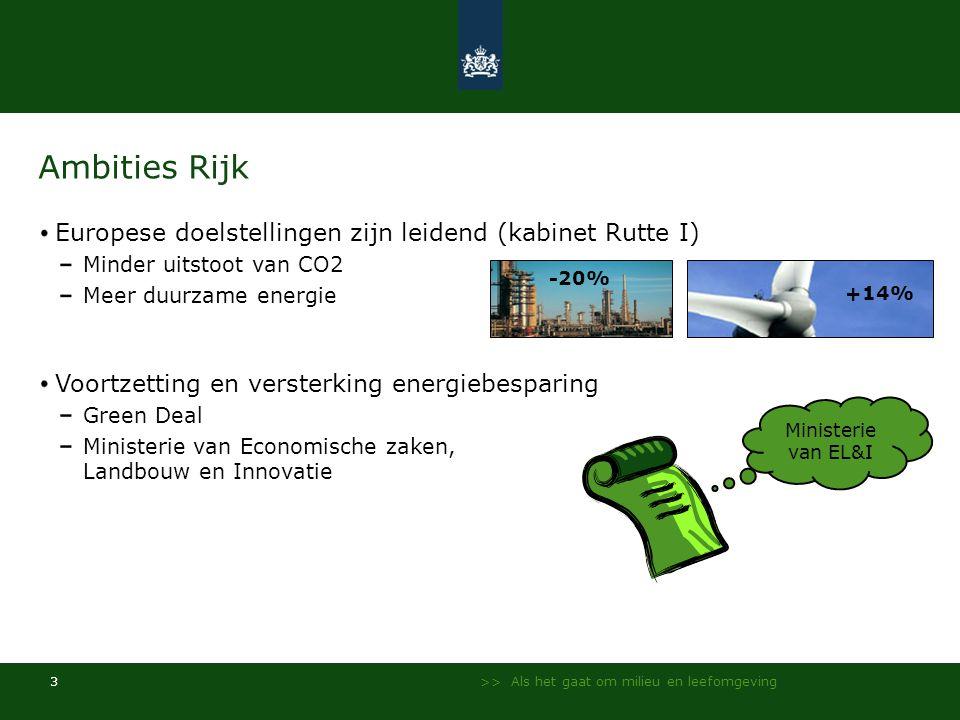 >> Als het gaat om milieu en leefomgeving 3 Ambities Rijk Europese doelstellingen zijn leidend (kabinet Rutte I) Minder uitstoot van CO2 Meer duurzame