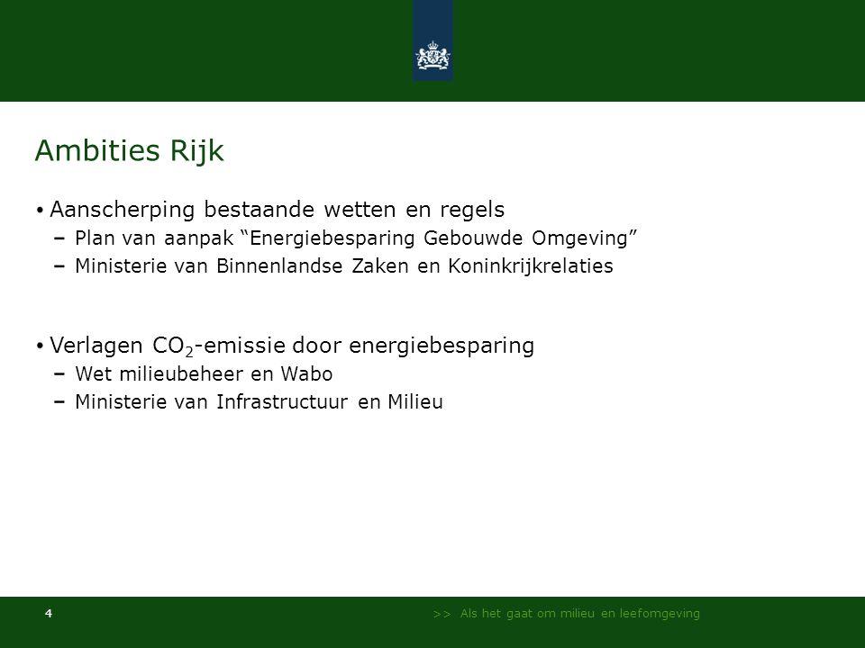 """>> Als het gaat om milieu en leefomgeving 4 Ambities Rijk Aanscherping bestaande wetten en regels Plan van aanpak """"Energiebesparing Gebouwde Omgeving"""""""