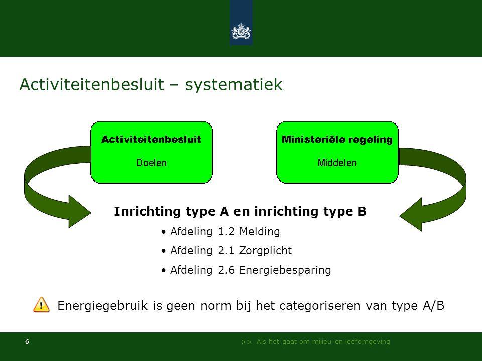>> Als het gaat om milieu en leefomgeving 6 Activiteitenbesluit – systematiek Inrichting type A en inrichting type B • Afdeling 1.2 Melding • Afdeling