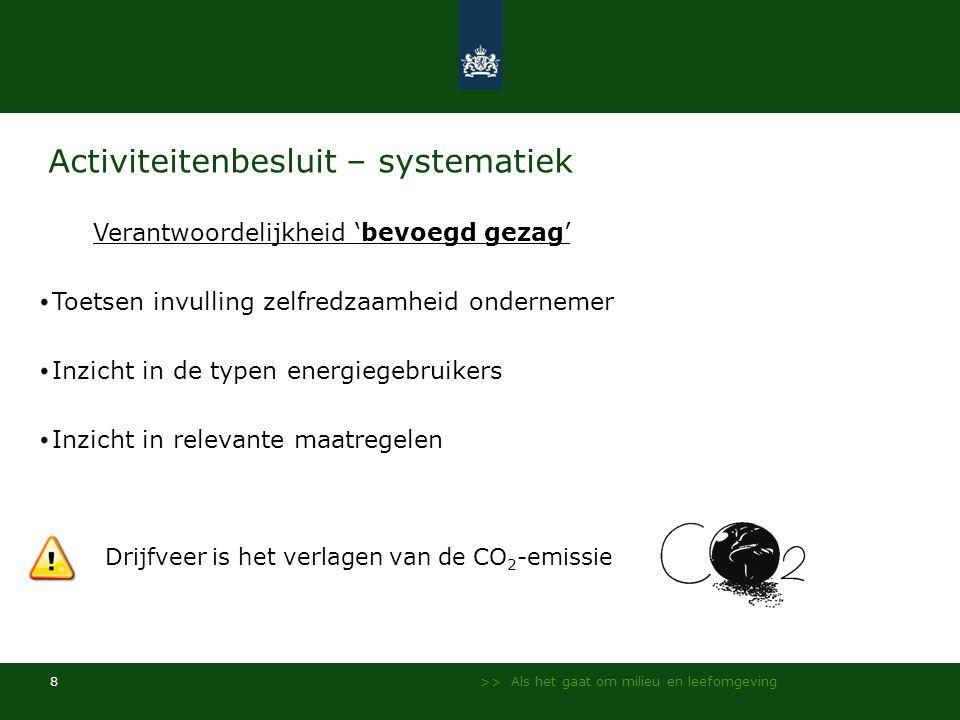 >> Als het gaat om milieu en leefomgeving 8 Activiteitenbesluit – systematiek Verantwoordelijkheid 'bevoegd gezag' Toetsen invulling zelfredzaamheid o