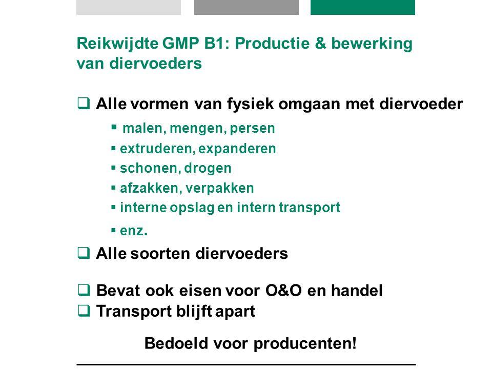Reikwijdte GMP B1: Productie & bewerking van diervoeders  Alle vormen van fysiek omgaan met diervoeder  malen, mengen, persen  extruderen, expander