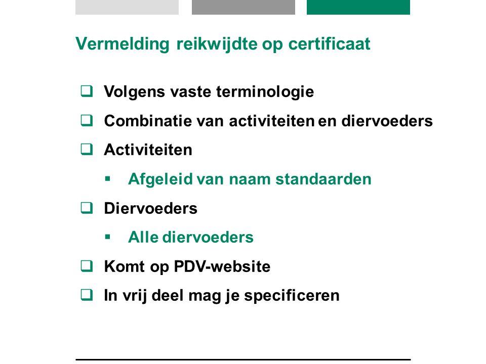 Vermelding reikwijdte op certificaat  Volgens vaste terminologie  Combinatie van activiteiten en diervoeders  Activiteiten  Afgeleid van naam stan
