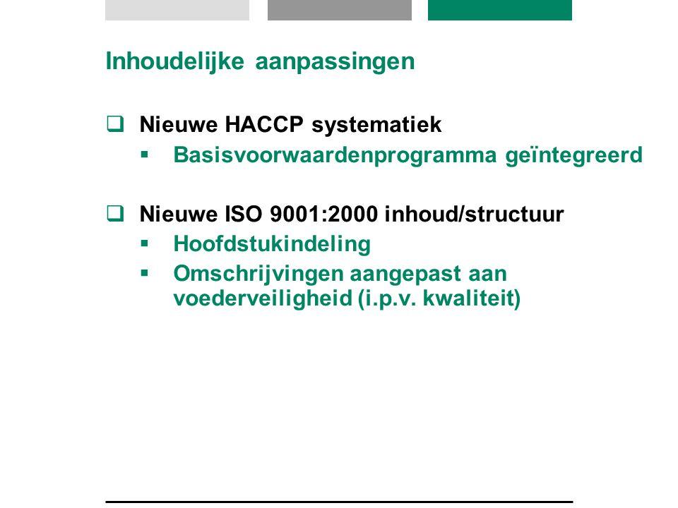 Inhoudelijke aanpassingen  Nieuwe HACCP systematiek  Basisvoorwaardenprogramma geïntegreerd  Nieuwe ISO 9001:2000 inhoud/structuur  Hoofdstukindel