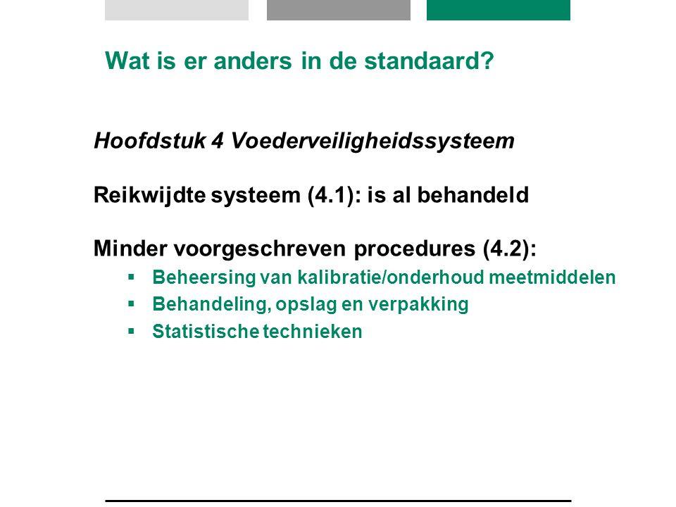 Hoofdstuk 4 Voederveiligheidssysteem Reikwijdte systeem (4.1): is al behandeld Minder voorgeschreven procedures (4.2):  Beheersing van kalibratie/ond