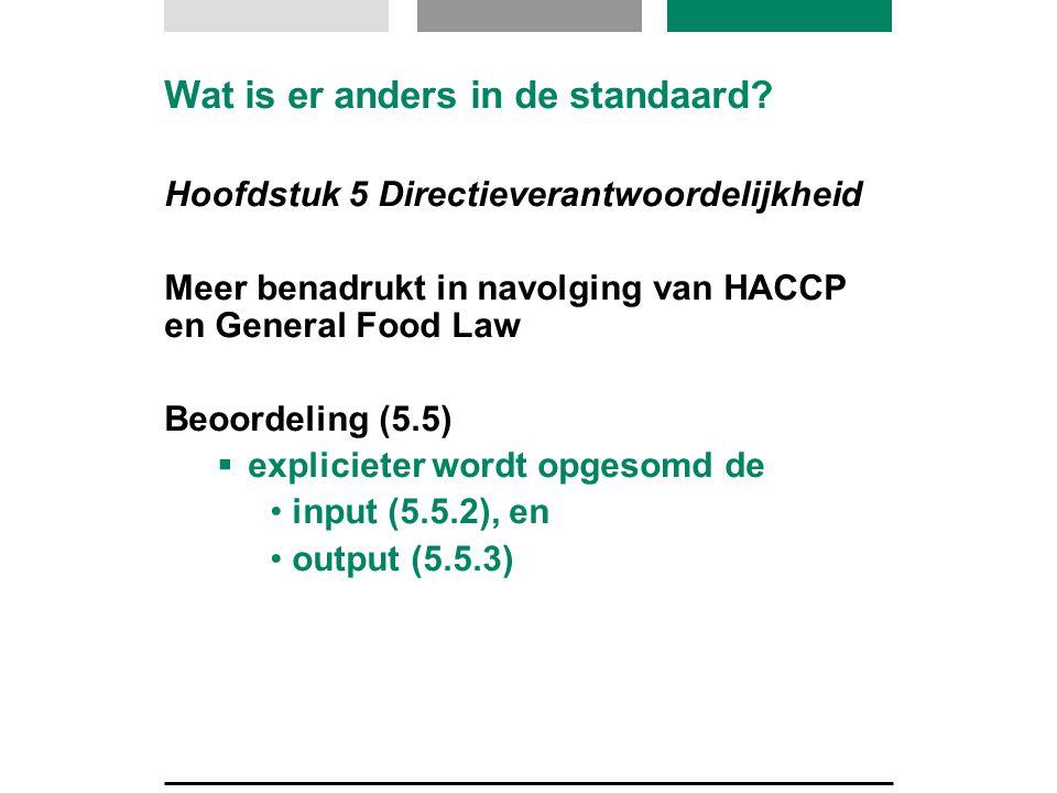 Hoofdstuk 5 Directieverantwoordelijkheid Meer benadrukt in navolging van HACCP en General Food Law Beoordeling (5.5)  explicieter wordt opgesomd de •