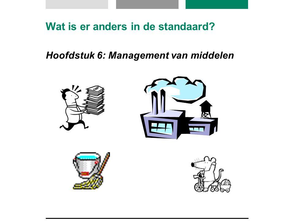 Wat is er anders in de standaard? Hoofdstuk 6: Management van middelen