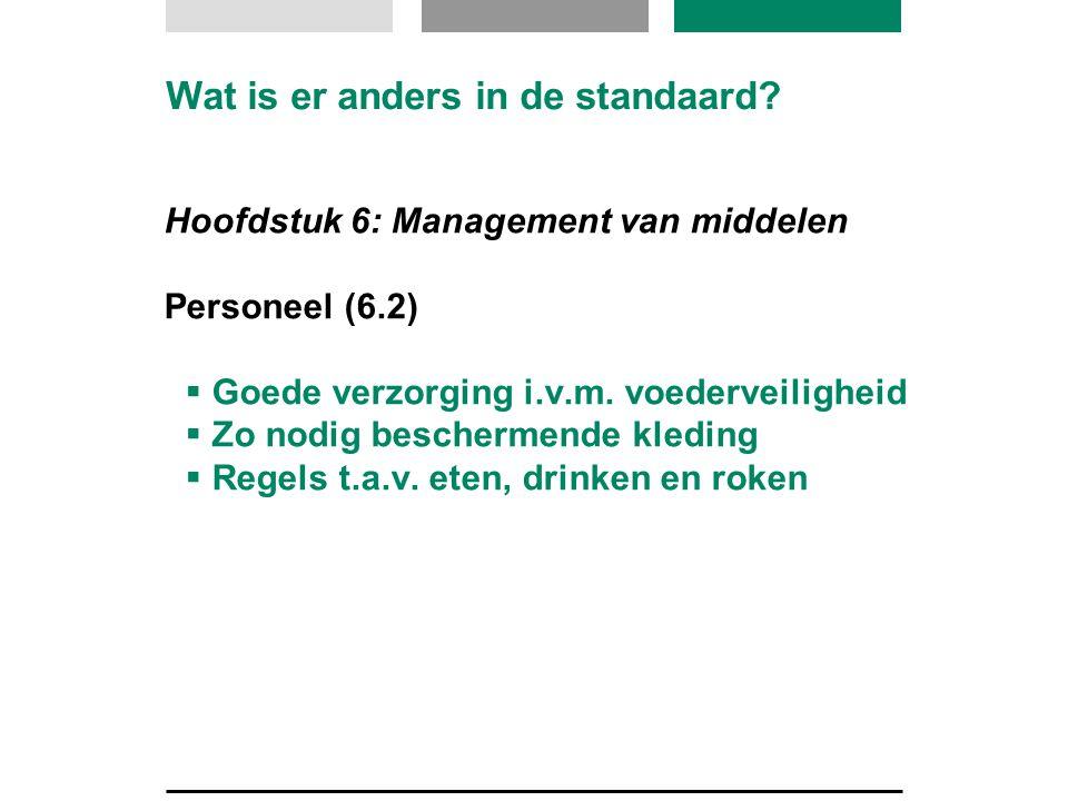 Wat is er anders in de standaard? Hoofdstuk 6: Management van middelen Personeel (6.2)  Goede verzorging i.v.m. voederveiligheid  Zo nodig bescherme