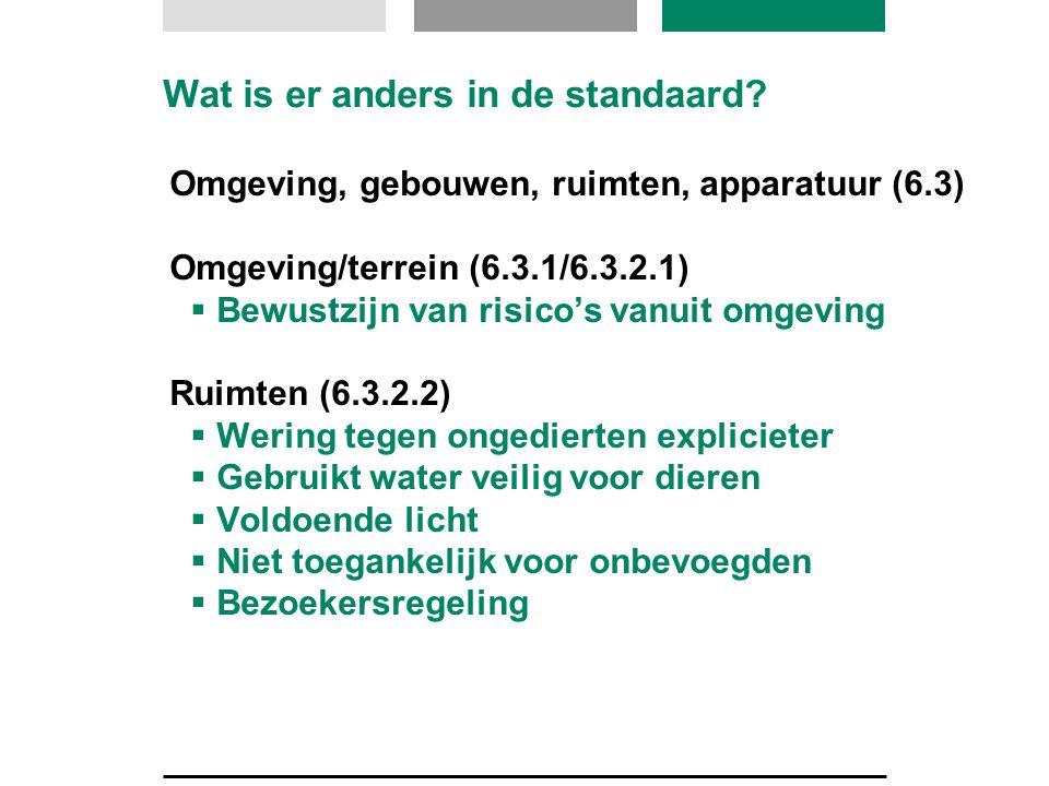 Wat is er anders in de standaard? Omgeving, gebouwen, ruimten, apparatuur (6.3) Omgeving/terrein (6.3.1/6.3.2.1)  Bewustzijn van risico's vanuit omge