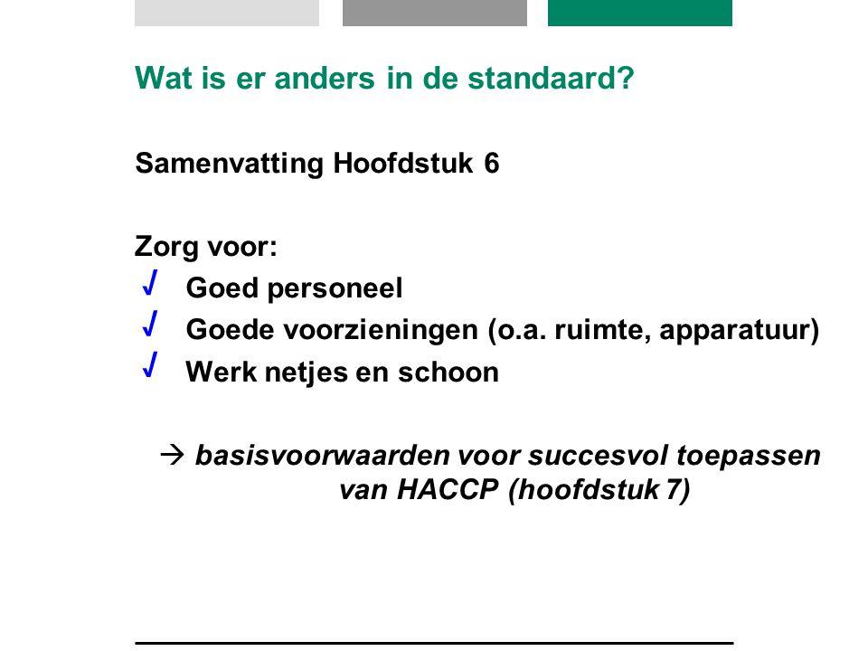 Wat is er anders in de standaard? Samenvatting Hoofdstuk 6 Zorg voor: Goed personeel Goede voorzieningen (o.a. ruimte, apparatuur) Werk netjes en scho