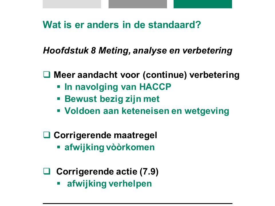 Wat is er anders in de standaard? Hoofdstuk 8 Meting, analyse en verbetering  Meer aandacht voor (continue) verbetering  In navolging van HACCP  Be