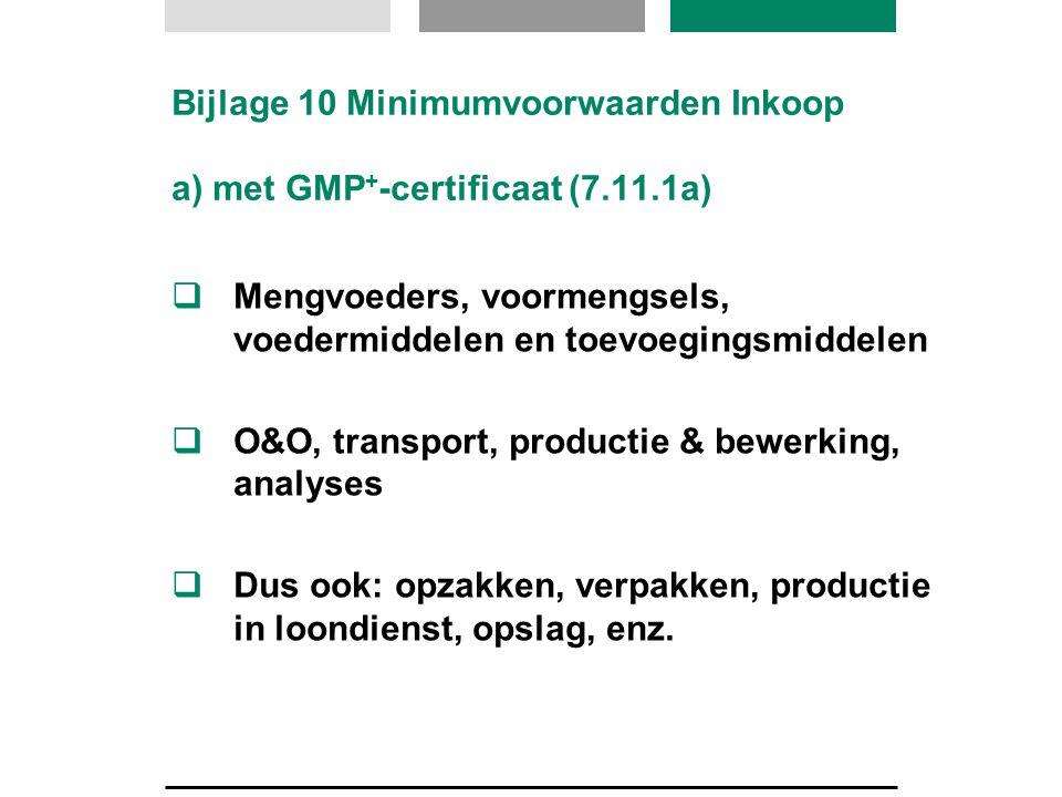 Bijlage 10 Minimumvoorwaarden Inkoop a) met GMP + -certificaat (7.11.1a)  Mengvoeders, voormengsels, voedermiddelen en toevoegingsmiddelen  O&O, tra