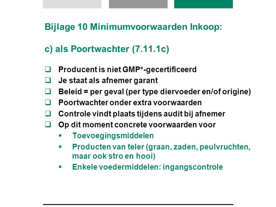 Bijlage 10 Minimumvoorwaarden Inkoop: c) als Poortwachter (7.11.1c)  Producent is niet GMP + -gecertificeerd  Je staat als afnemer garant  Beleid =