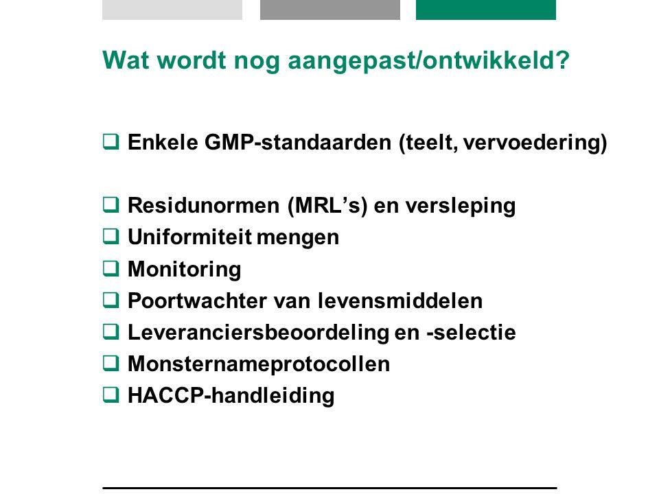 Wat wordt nog aangepast/ontwikkeld?  Enkele GMP-standaarden (teelt, vervoedering)  Residunormen (MRL's) en versleping  Uniformiteit mengen  Monito