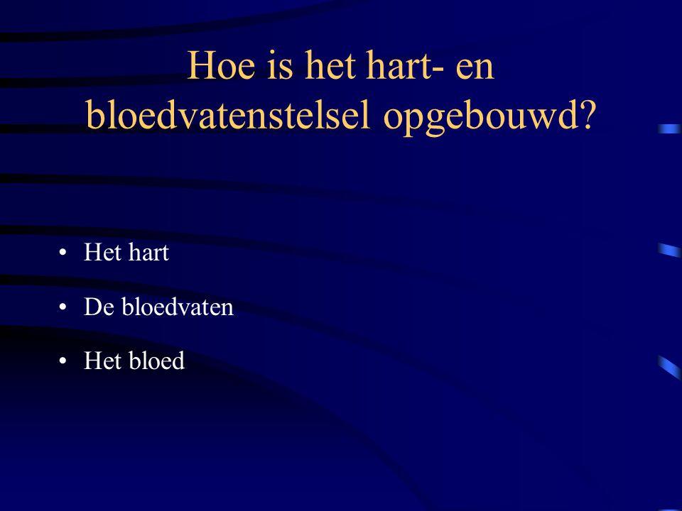 •Hoe is het hart- en bloedvatenstelsel opgebouwd?Hoe is het hart- en bloedvatenstelsel opgebouwd? •Hoe werkt het hart- en bloedvatenstelsel? •De ambul