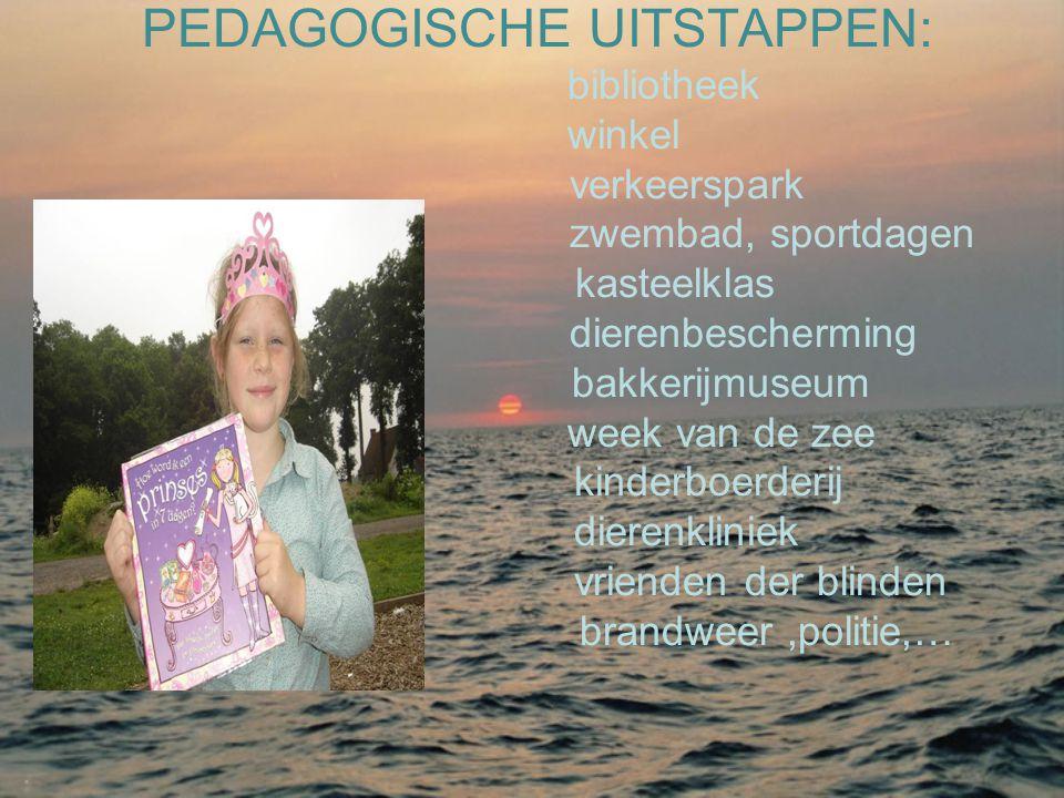 PEDAGOGISCHE UITSTAPPEN: bibliotheek winkel verkeerspark zwembad, sportdagen kasteelklas dierenbescherming bakkerijmuseum week van de zee kinderboerde