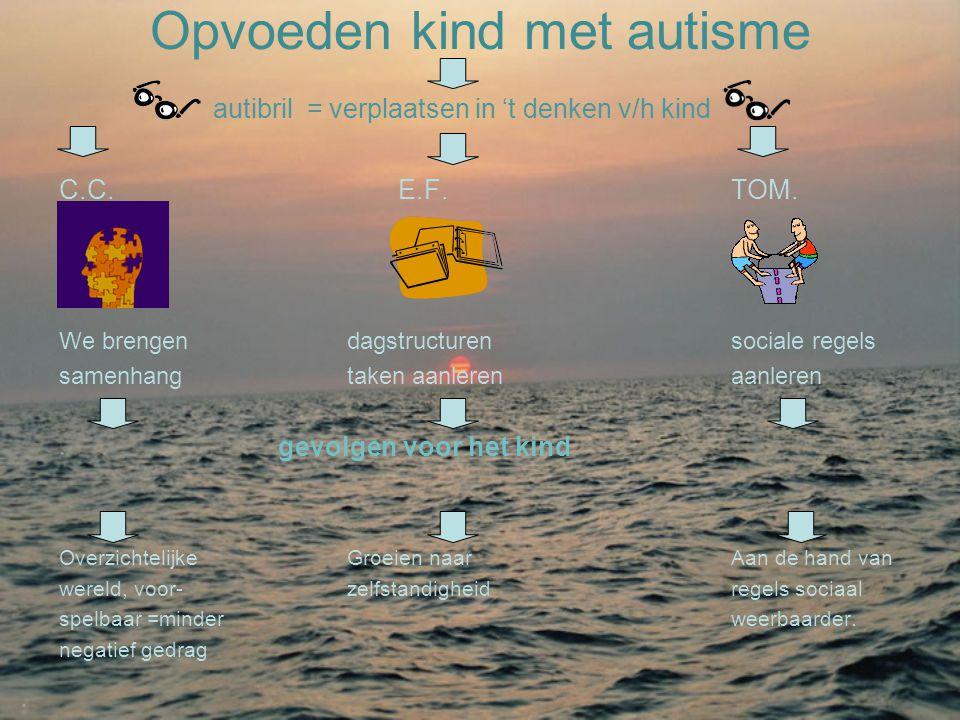 Opvoeden kind met autisme autibril = verplaatsen in 't denken v/h kind C.C. E.F.TOM. We brengen dagstructurensociale regels samenhangtaken aanlerenaan