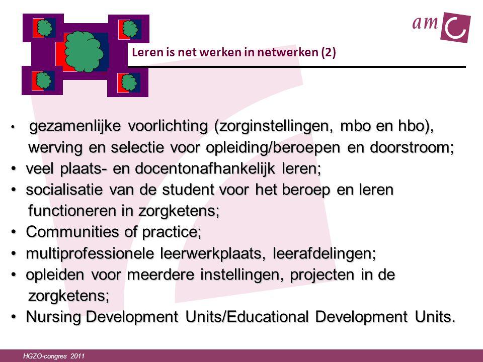 HGZO-congres 2011 Leren is net werken in netwerken (2) • gezamenlijke voorlichting (zorginstellingen, mbo en hbo), werving en selectie voor opleiding/
