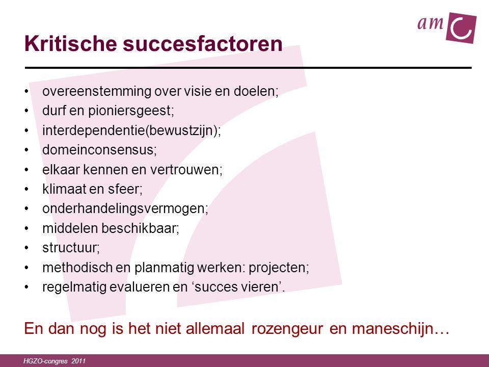 HGZO-congres 2011 Kritische succesfactoren •overeenstemming over visie en doelen; •durf en pioniersgeest; •interdependentie(bewustzijn); •domeinconsen
