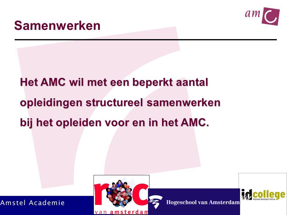 HGZO-congres 2011 Samenwerken Het AMC wil met een beperkt aantal opleidingen structureel samenwerken bij het opleiden voor en in het AMC.