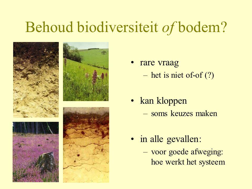 Behoud biodiversiteit of bodem? •rare vraag –het is niet of-of (?) •kan kloppen –soms keuzes maken •in alle gevallen: –voor goede afweging: hoe werkt