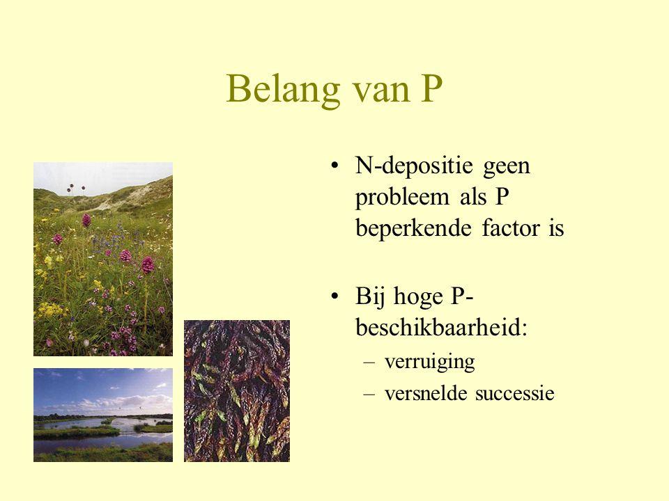 Belang van P •N-depositie geen probleem als P beperkende factor is •Bij hoge P- beschikbaarheid: –verruiging –versnelde successie