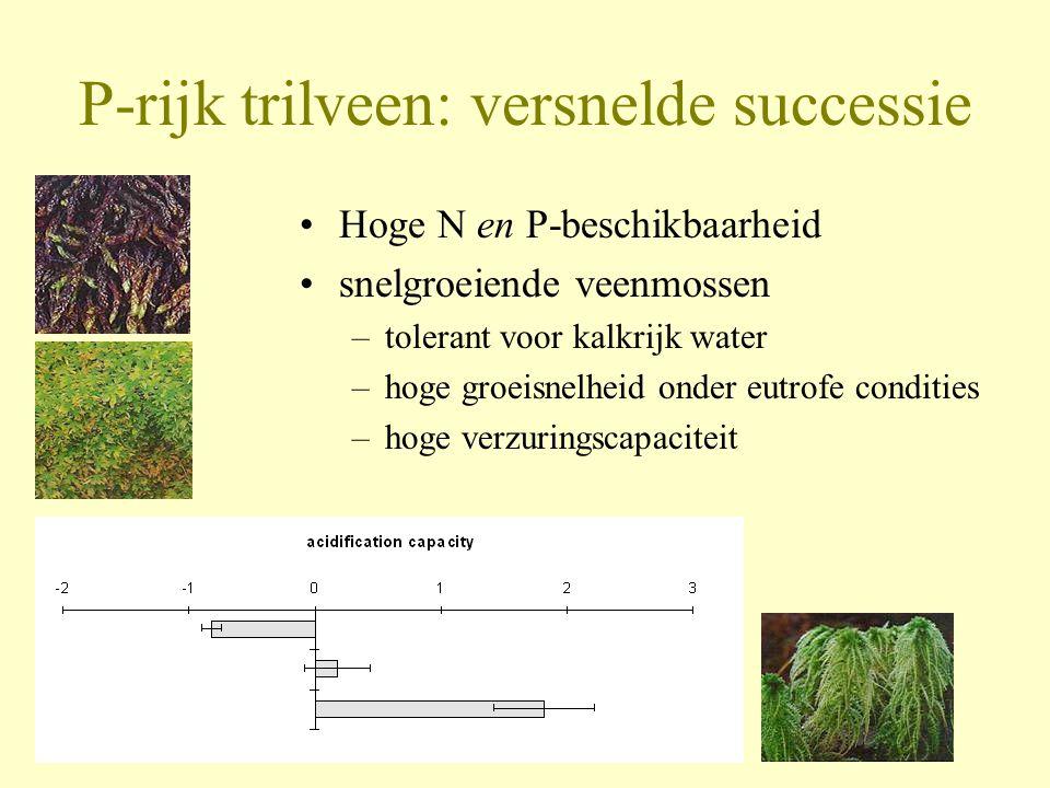 P-rijk trilveen: versnelde successie •Hoge N en P-beschikbaarheid •snelgroeiende veenmossen –tolerant voor kalkrijk water –hoge groeisnelheid onder eu