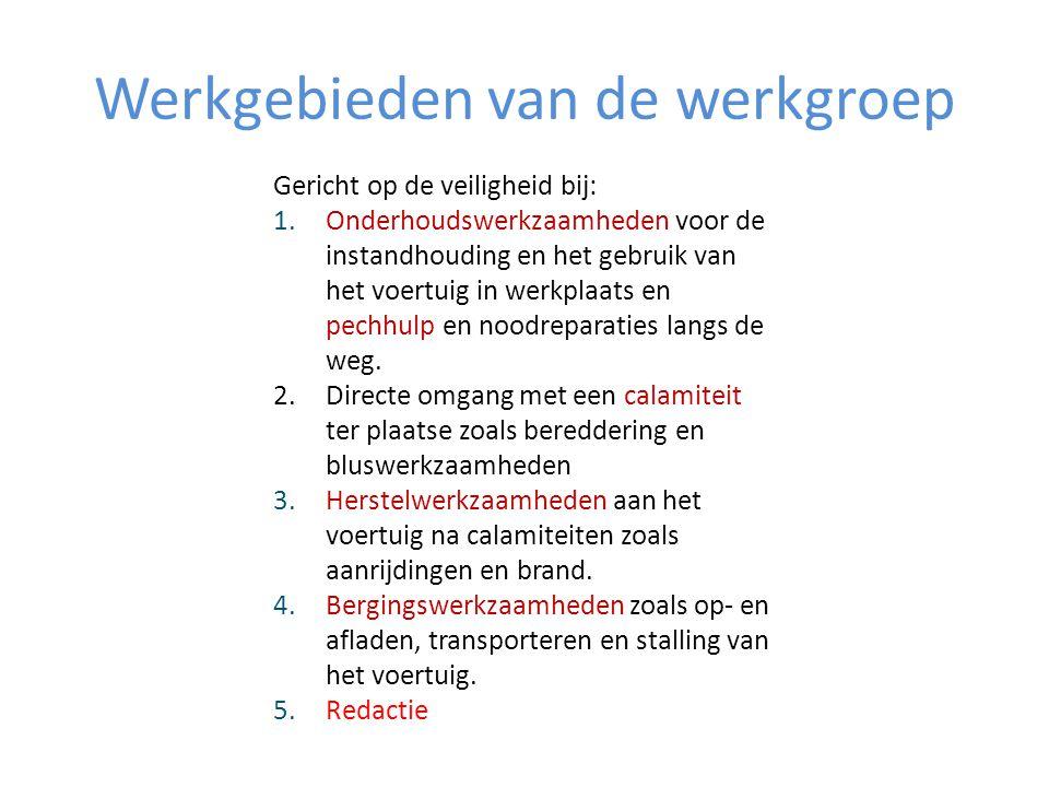 Werkgebieden van de werkgroep Gericht op de veiligheid bij: 1.Onderhoudswerkzaamheden voor de instandhouding en het gebruik van het voertuig in werkpl