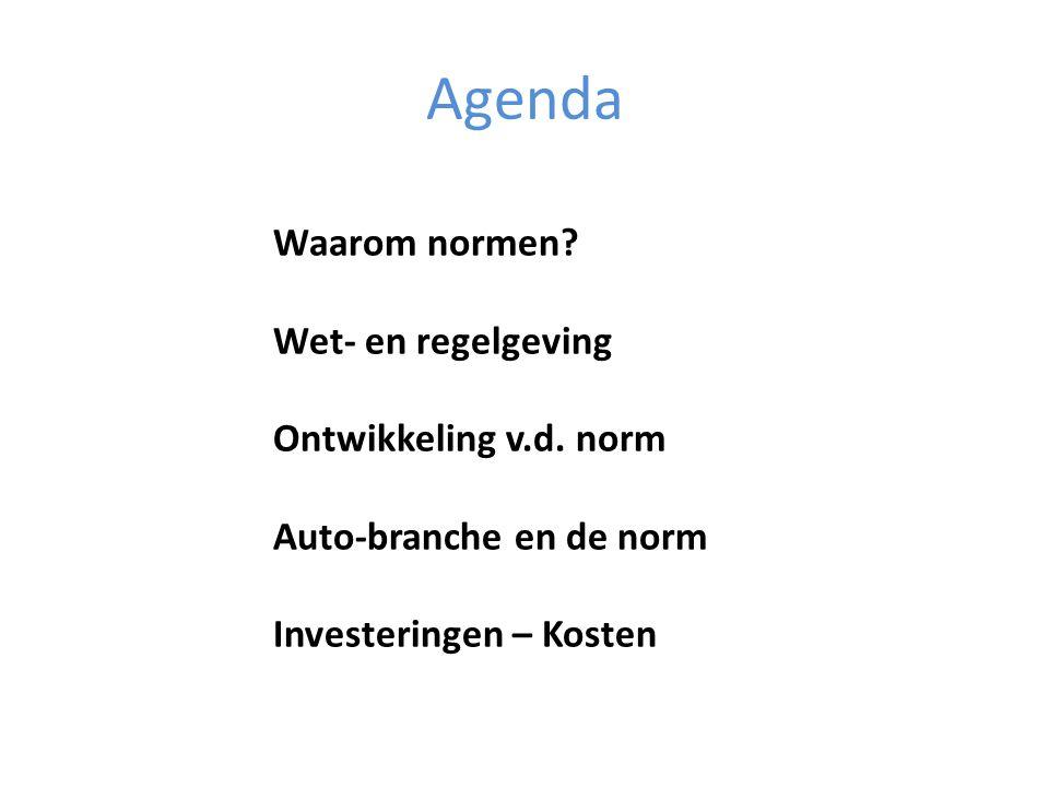 Agenda Waarom normen? Wet- en regelgeving Ontwikkeling v.d. norm Auto-branche en de norm Investeringen – Kosten