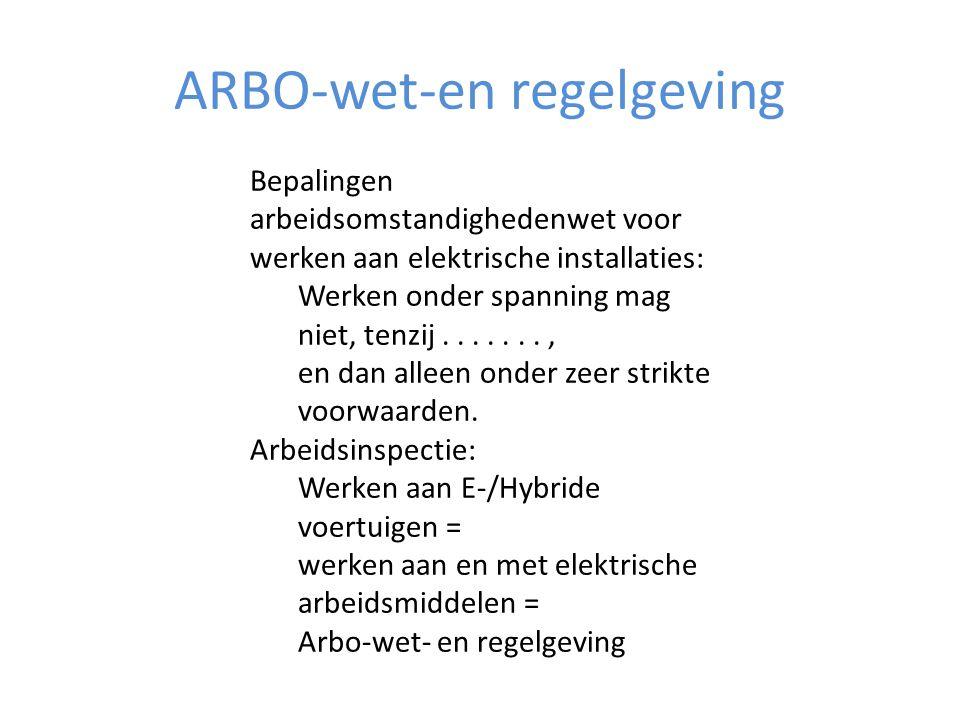 Arbo-wet-en regelgeving • De uitwerking die in NEN 3140 gegeven wordt aan de ARBO-wetgeving is echter vooral toegespitst op de elektrotechnische installatiewereld, en zeer algemeen van aard.