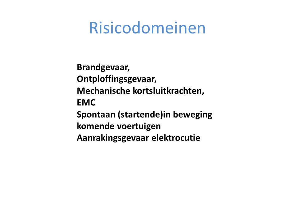 Risicodomeinen Brandgevaar, Ontploffingsgevaar, Mechanische kortsluitkrachten, EMC Spontaan (startende)in beweging komende voertuigen Aanrakingsgevaar