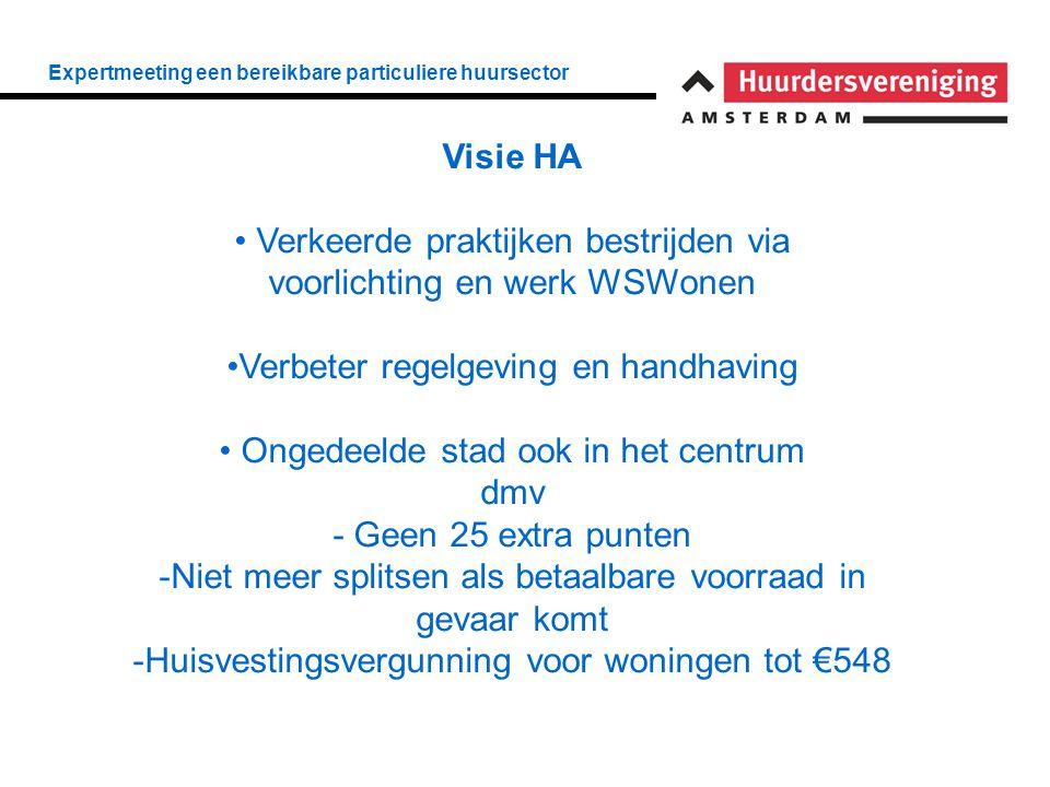 Expertmeeting een bereikbare particuliere huursector Visie HA • Verkeerde praktijken bestrijden via voorlichting en werk WSWonen •Verbeter regelgeving