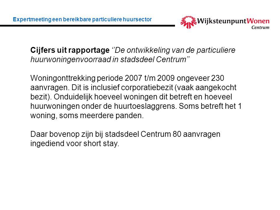 Cijfers uit rapportage ''De ontwikkeling van de particuliere huurwoningenvoorraad in stadsdeel Centrum'' Woningonttrekking periode 2007 t/m 2009 ongeveer 230 aanvragen.