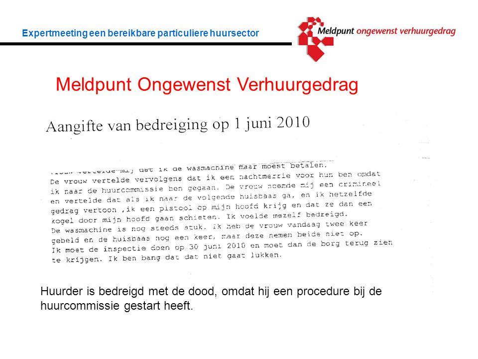 Expertmeeting een bereikbare particuliere huursector Meldpunt Ongewenst Verhuurgedrag Huurder is bedreigd met de dood, omdat hij een procedure bij de huurcommissie gestart heeft.