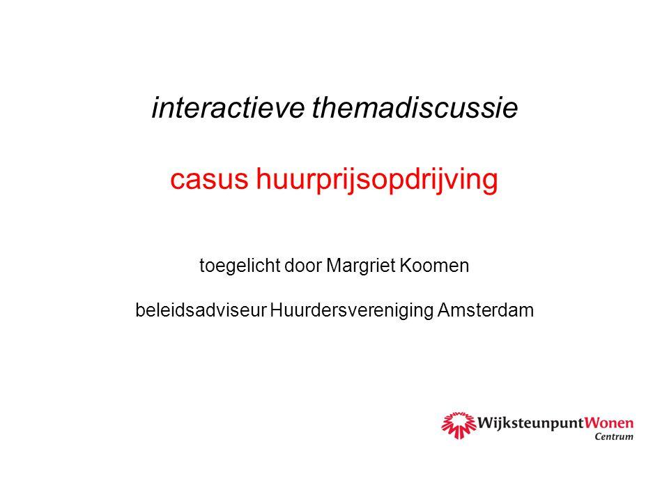 interactieve themadiscussie casus huurprijsopdrijving toegelicht door Margriet Koomen beleidsadviseur Huurdersvereniging Amsterdam