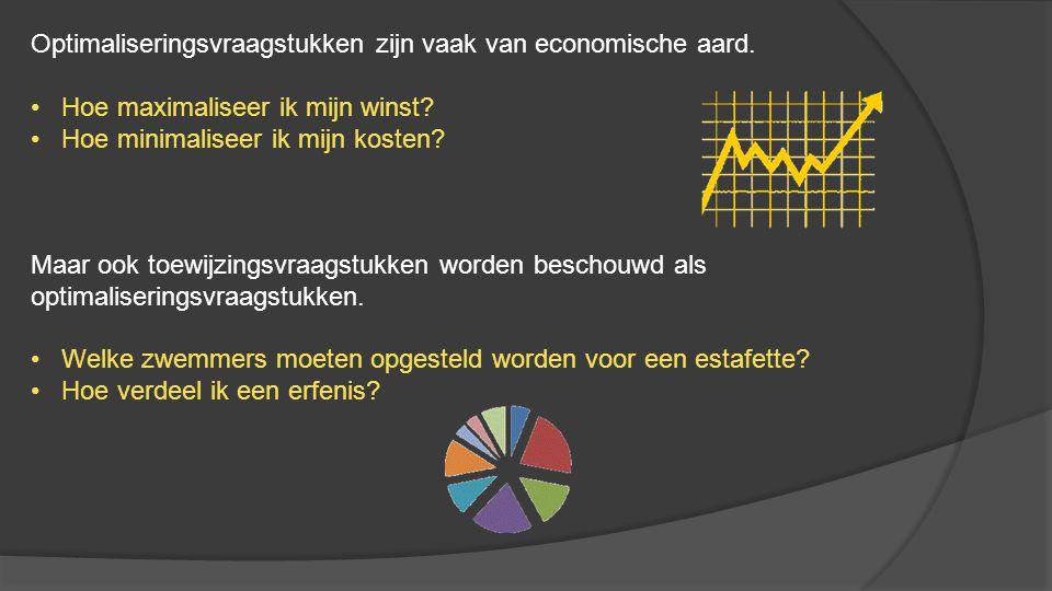 Optimaliseringsvraagstukken zijn vaak van economische aard. • Hoe maximaliseer ik mijn winst? • Hoe minimaliseer ik mijn kosten? Maar ook toewijzingsv