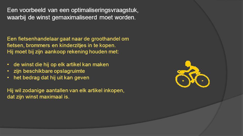 De gegevens voor de drie artikelen zijn: Hij besluit om:minimaal 30 en hoogstens 75 fietsen, minimaal 10 en hoogstens 30 bromfietsen en minimaal 8 en hoogstens 20 kinderzitjes in te kopen.